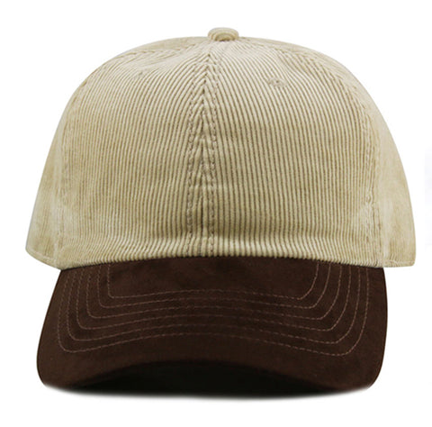 Khaki Corduroy/ Suede 6-Panel Dad Hat