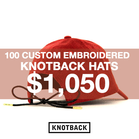 100 CUSTOM EMBROIDERED KNOTBACK HATS