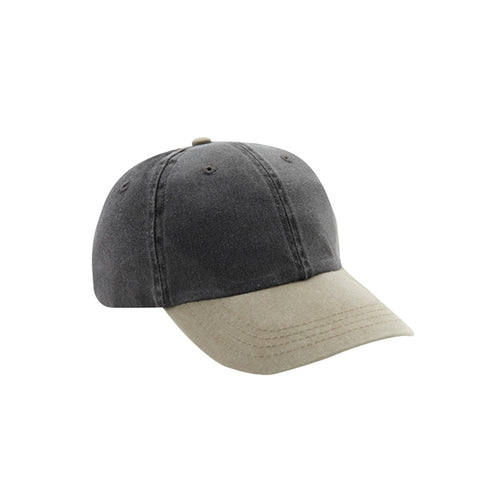 6 Panel Stone Washed Dad Hat - Charcoal/ Khaki