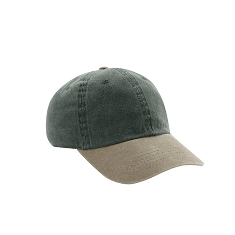 6 Panel Stone Washed Dad Hat - Dark Green/ Khaki