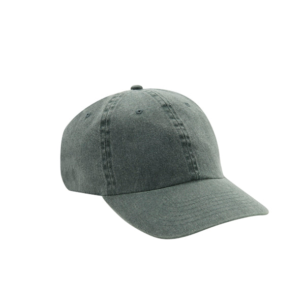 6 Panel Stone Washed Dad Hat - Dark Green
