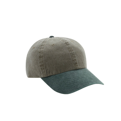 6 Panel Stone Washed Dad Hat - Khaki/ Dark Green