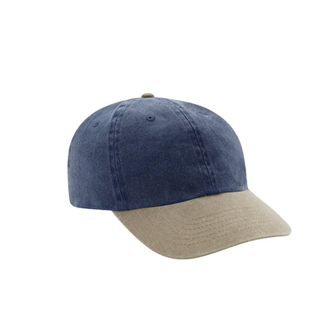 6 Panel Stone Washed Dad Hat - Navy/ Khaki