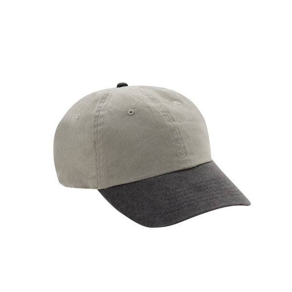 6 Panel Stone Washed Dad Hat - Stone/ Black