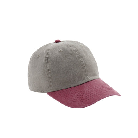 6 Panel Stone Washed Dad Hat - Stone/ Maroon