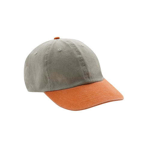6 Panel Stone Washed Dad Hat - Stone/ Orange