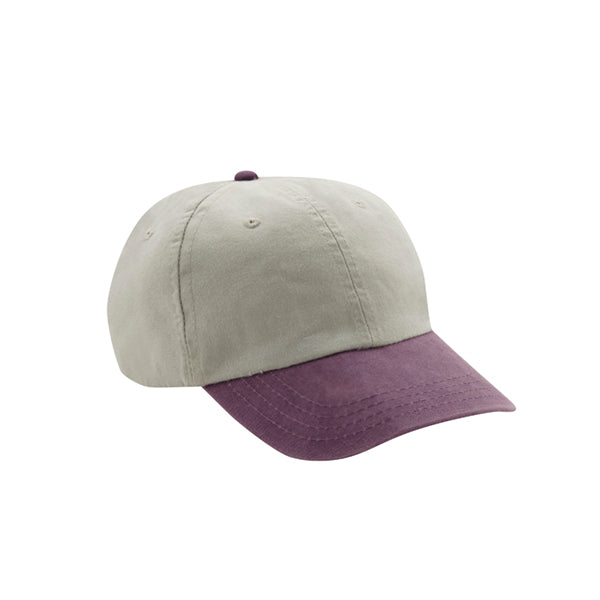 6 Panel Stone Washed Dad Hat - Stone/ Purple
