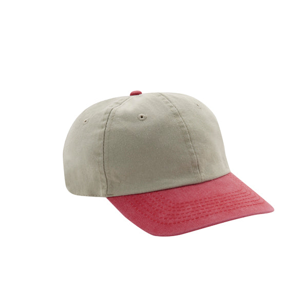 6 Panel Stone Washed Dad Hat - Stone/ Red
