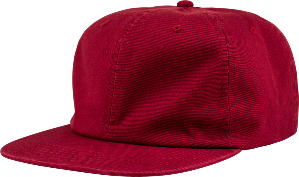 6-Panel Unstructured Flat Square Bill - Red