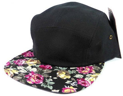 Black/ Roses 5 Panel Camper Hat