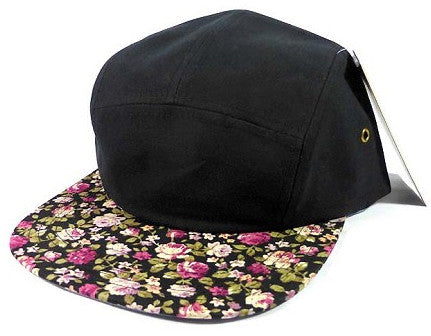 Black/ Small Rose Brim 5 Panel Camper Hat Wholesale