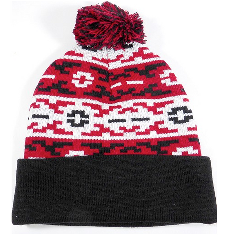Aztec Pom Beanie Black/ Red