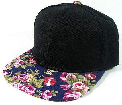 Black/ Navy Large Pink Flowers Snapback
