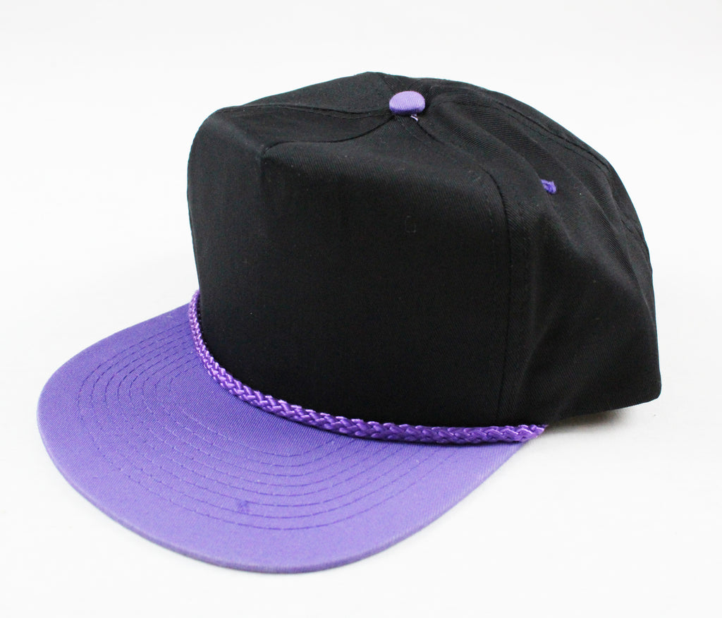 Braid Rope Snapback - Black/ Light Purple