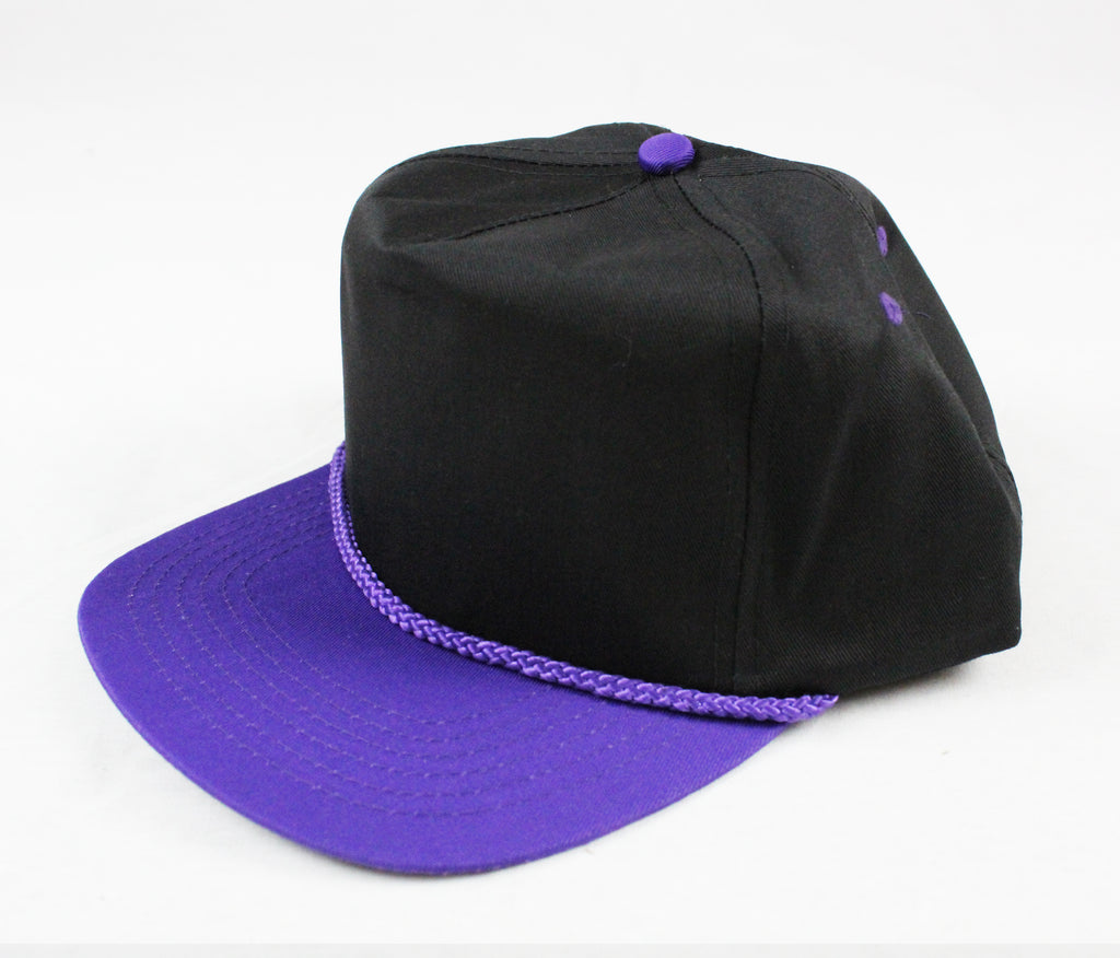 Braid Rope Snapback - Black/ Purple