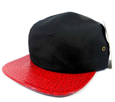 Black/ Red Croc Skin 5 Panel Camper Hat