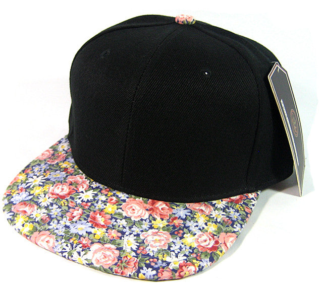 Black/ Small Red and Blue Floral Snapback