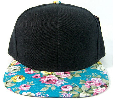 Black/ Turquoise Floral Snapback