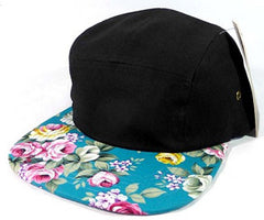 Black/ Turquoise Floral 5 Panel Hat