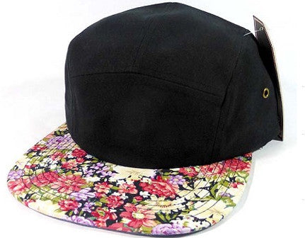 Black/ Various Flower 5 Panel Camper Hat