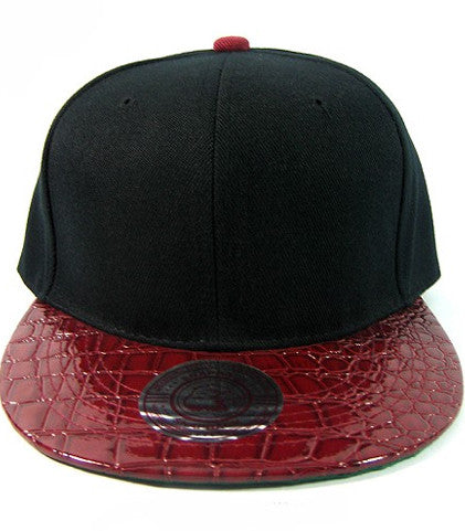 Black/ Faux Alligator Burgundy Snapback