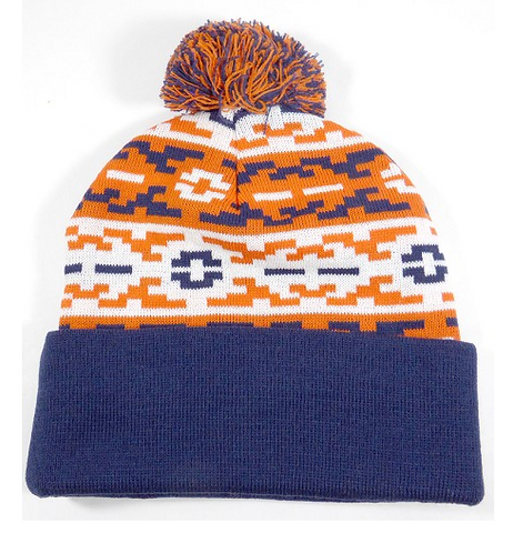 Aztec Pom Beanie Blue/ Orange