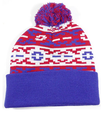 Aztec Pom Beanie Blue/ Red