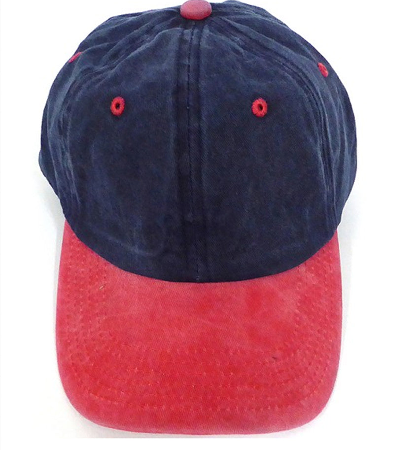 PIGMENT DYED DAD CAP - Navy/ Red