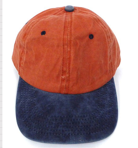 PIGMENT DYED DAD CAP - Orange/ Navy