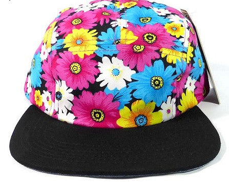 Pink Daisy/ Black 5 panel