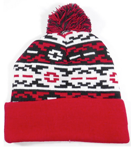Aztec Pom Beanie Red/ Black