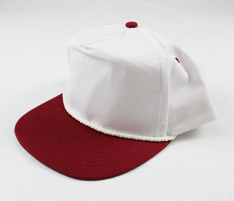 Braid Rope Snapback - White / Maroon