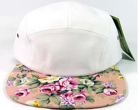 White/ Light Pink Flower Floral 5 Panel Hat