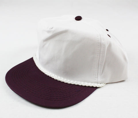 Braid Rope Snapback - White / Plum
