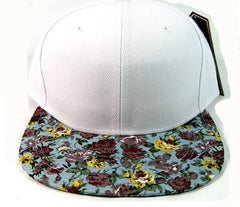 White/ Teal Floral Snapback