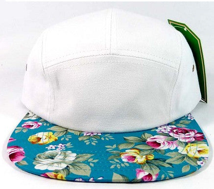 White/ Turquoise Floral 5 Panel Camper Hat