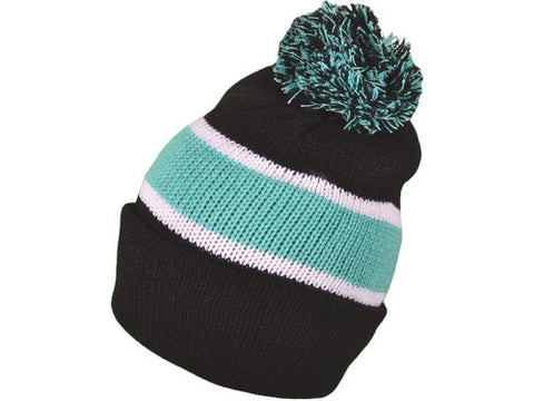 Black/ Mint Stripe Pom Beanie