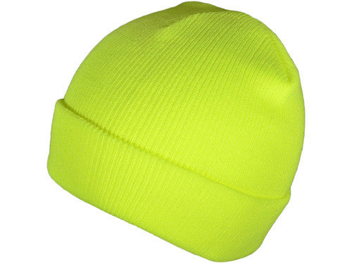 Neon Yellow Cuff Winter Beanie