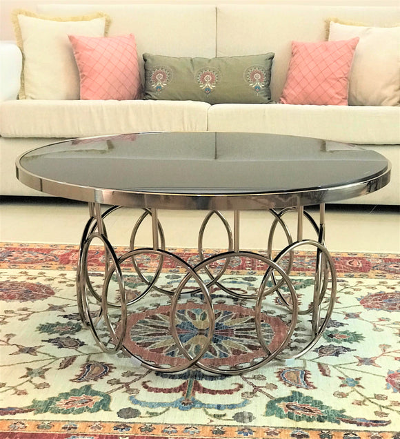 Gold Metal Round Coffee Table.Astor Metal Round Coffee Table Rose Gold Glass Top