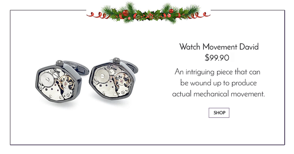 Gunmetal tourbilion watch cufflinks - Watch movement david