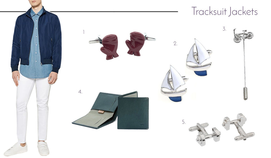 Men's Cufflinks and Accessories with Tracksuit Jackets