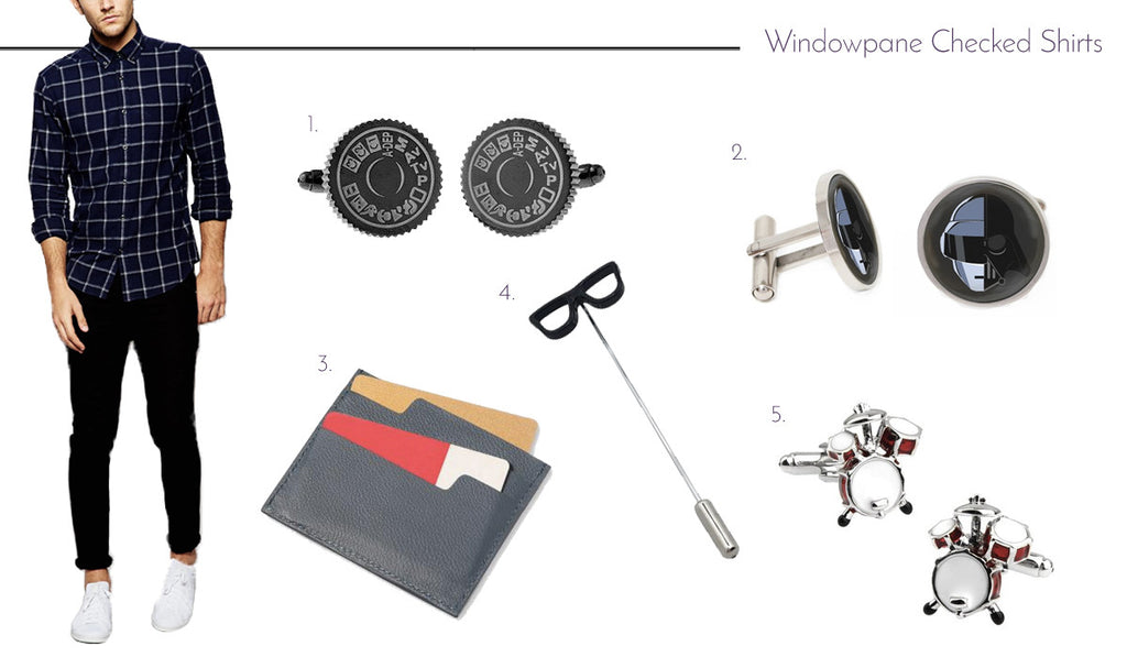 Men's Cufflinks and Accessories with Windowpane Check Shirts