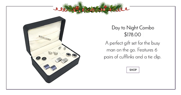 6 pair cufflink and tie clip combo gift set