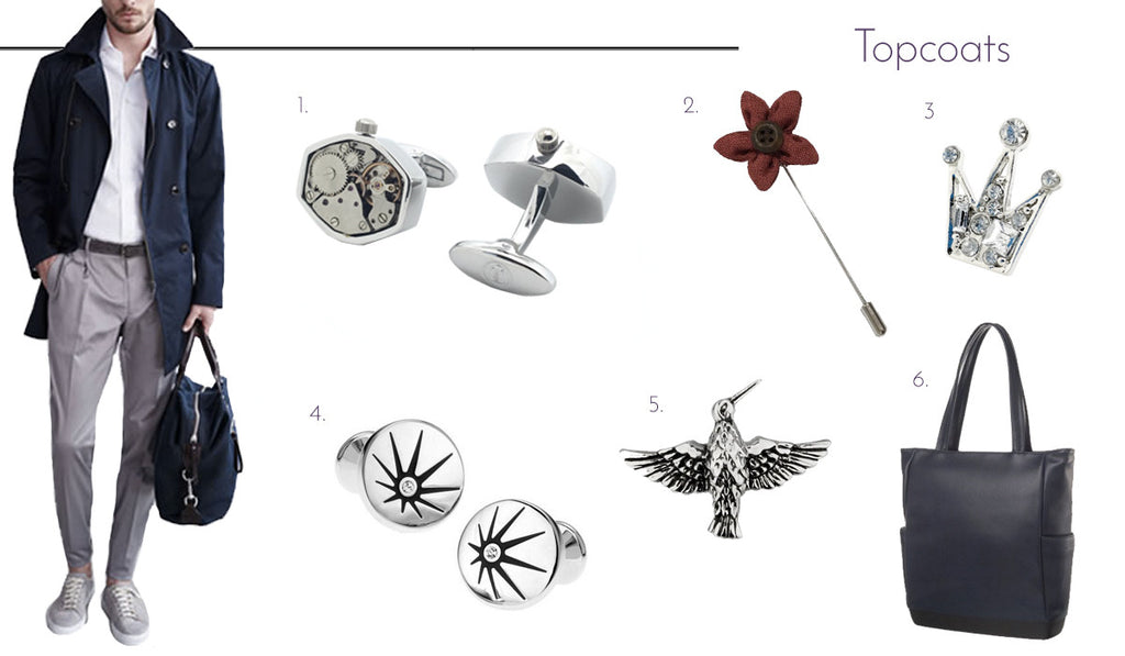 Men's Cufflinks and Accessories with Topcoats