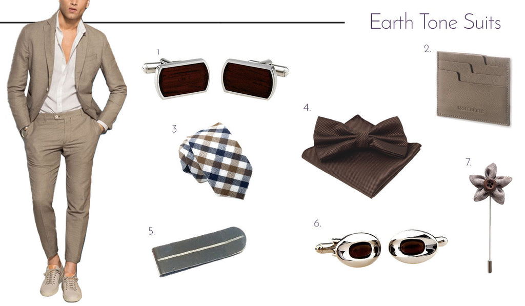 Men's Cufflinks and Accessories with Earth Tones