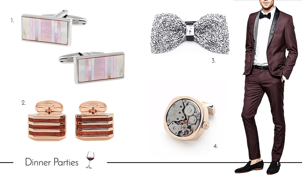 Mens Cufflinks and Accessories for Dinner Parties