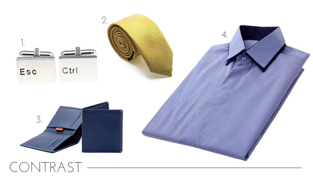 Contrast Tie and French Cuff Shirt