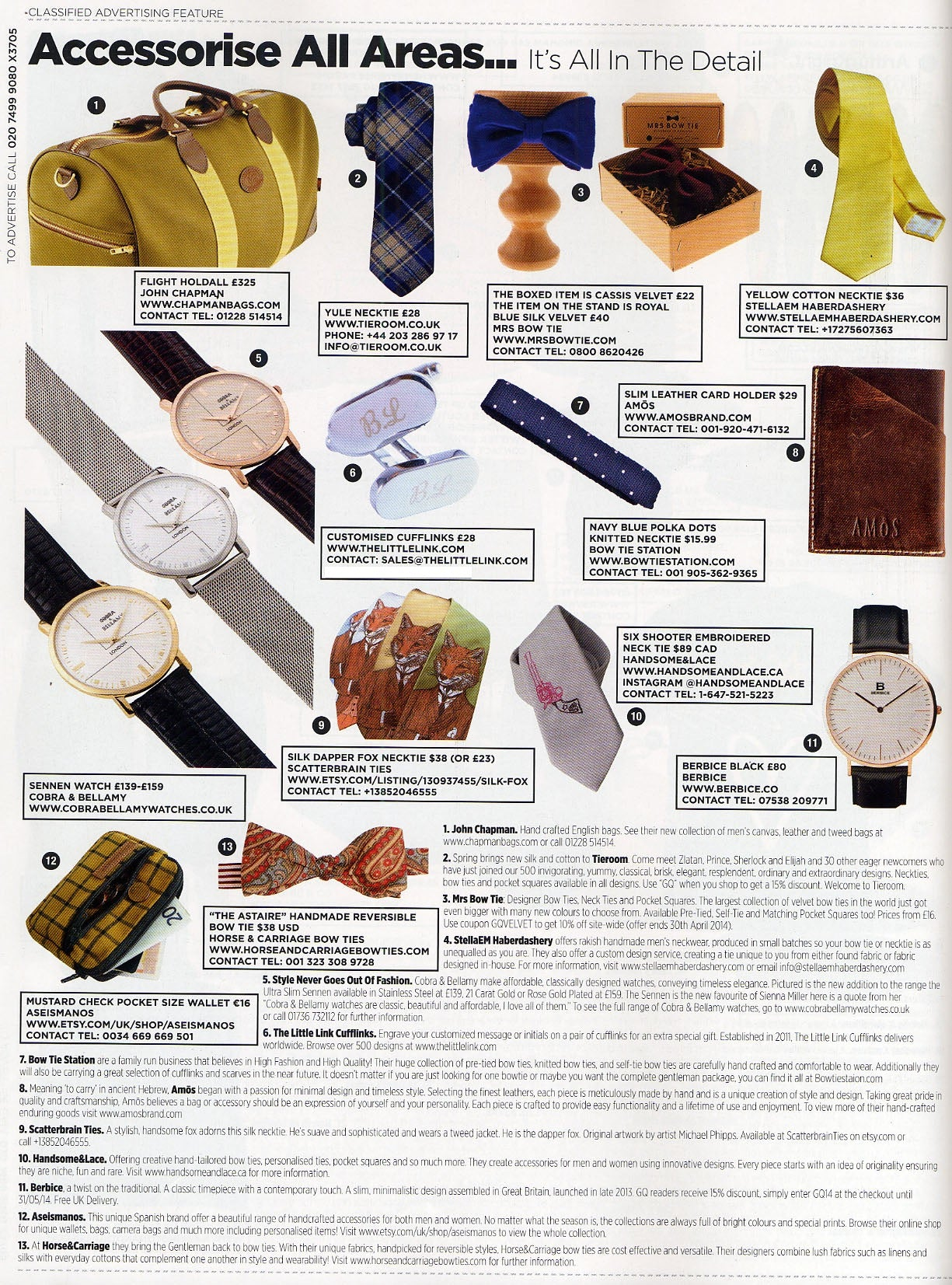 British GQ Magazine cufflinks feature