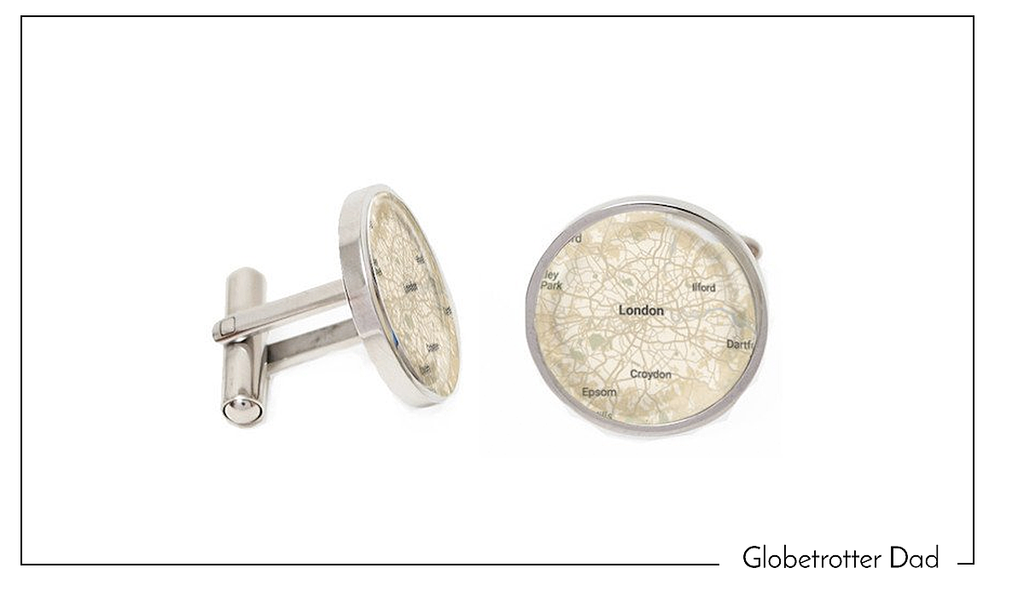 Silver Map Cufflinks - World Map - Custom Cufflinks