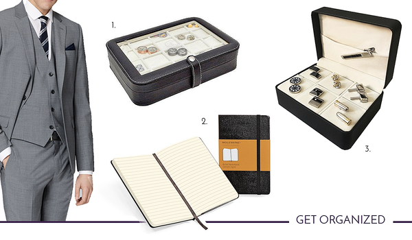 Get Organized with cufflink storage boxes and moleskine notebooks